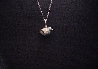 Pioulet perle de Tahiti, or rouge et diamants (pièce unique vendue)