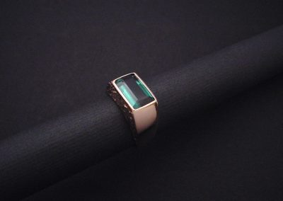 bague or rouge, tourmaline