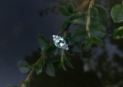 bague en or blanc, Chrysobéryl Vanadium, diamants